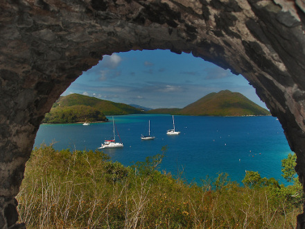 Leinster Bay view through ruins, St John USVI